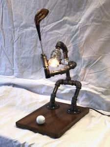 Custom Pipe Golfer Lamp